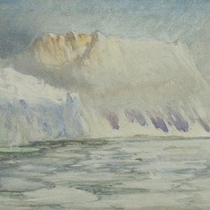 Morning mists, Elephant Island, glacier is close to camp, 1916