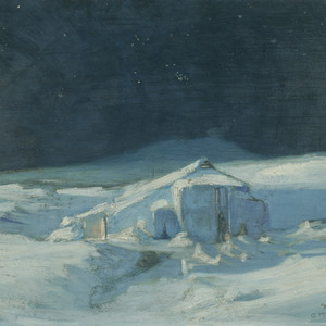 Shackleton's snow covered hut at Cape Royds