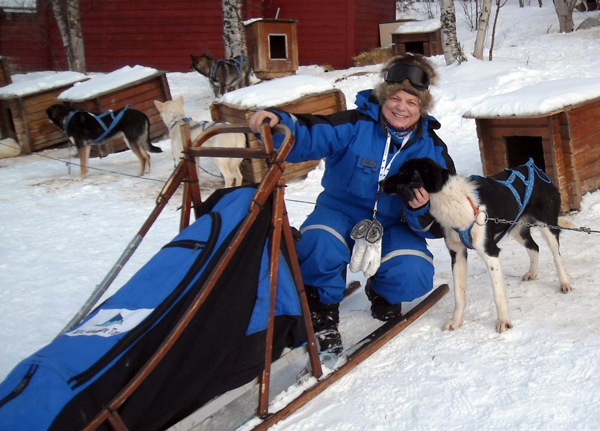 Judith Croasdell with sledge and dogs