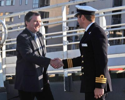 Professor Dowdeswell (SPRI) being welcomed aboard by Commander Gary Hesling RN ©2010 MOD HMS Scott
