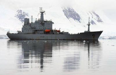 HMS Scott on station in the Antarctic
