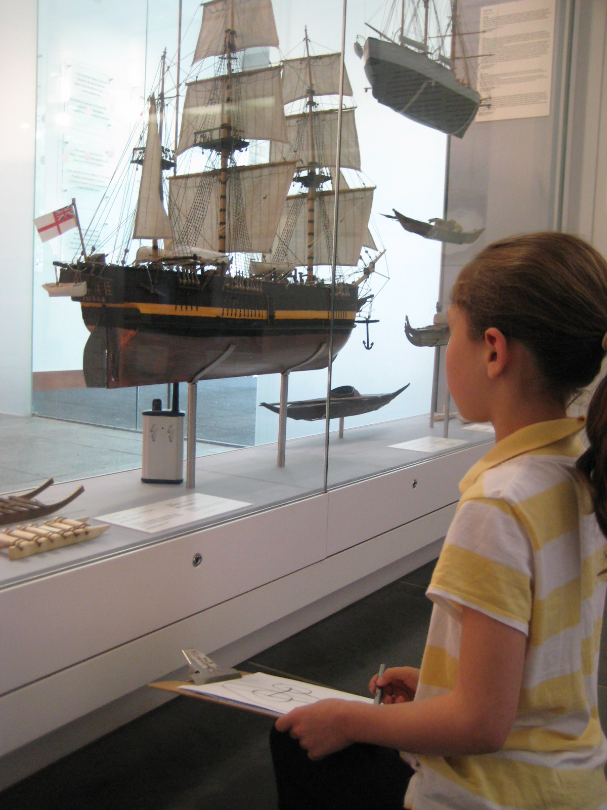 Child sketching in The Polar Museum