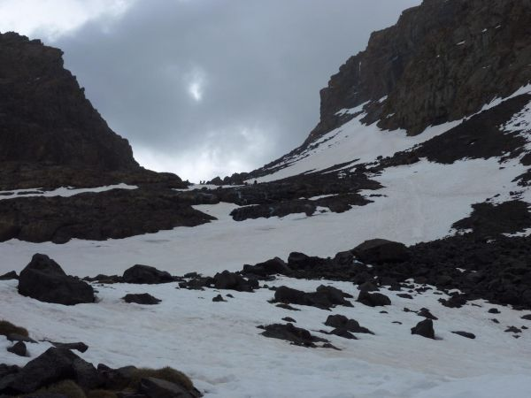 Mount Toubkal - steel snow field
