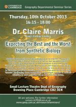 Departmental Seminar Series opens with 'Expecting the Best and the Worst from Synthetic Biology'