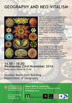 Event: Geography and neo-vitalism