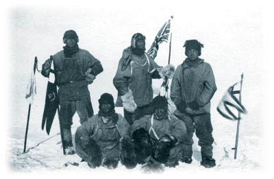 Scott and the Southern Party at the South Pole, 17 January 1912 (H.R. Bowers)