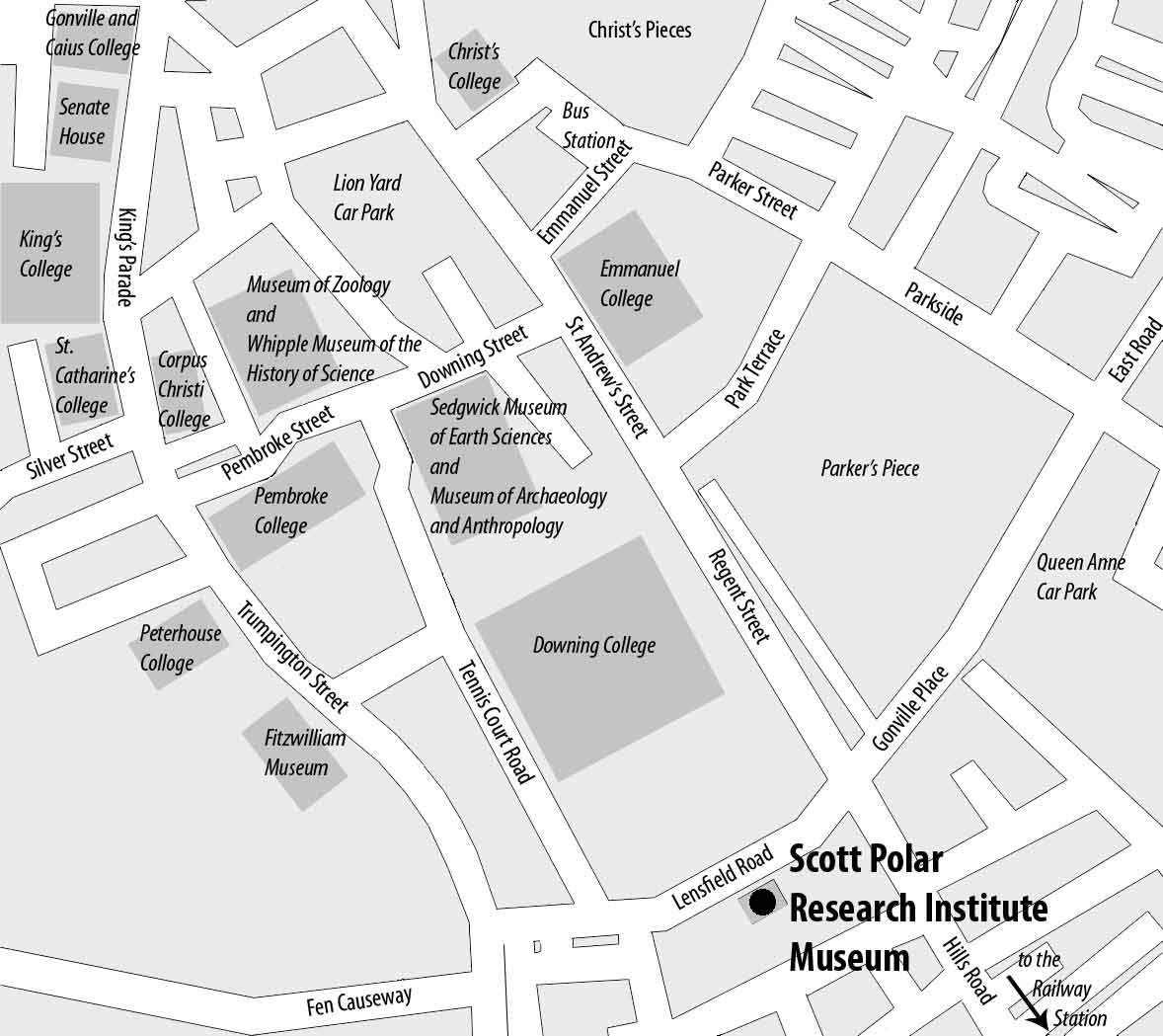 Location map for the Polar Museum