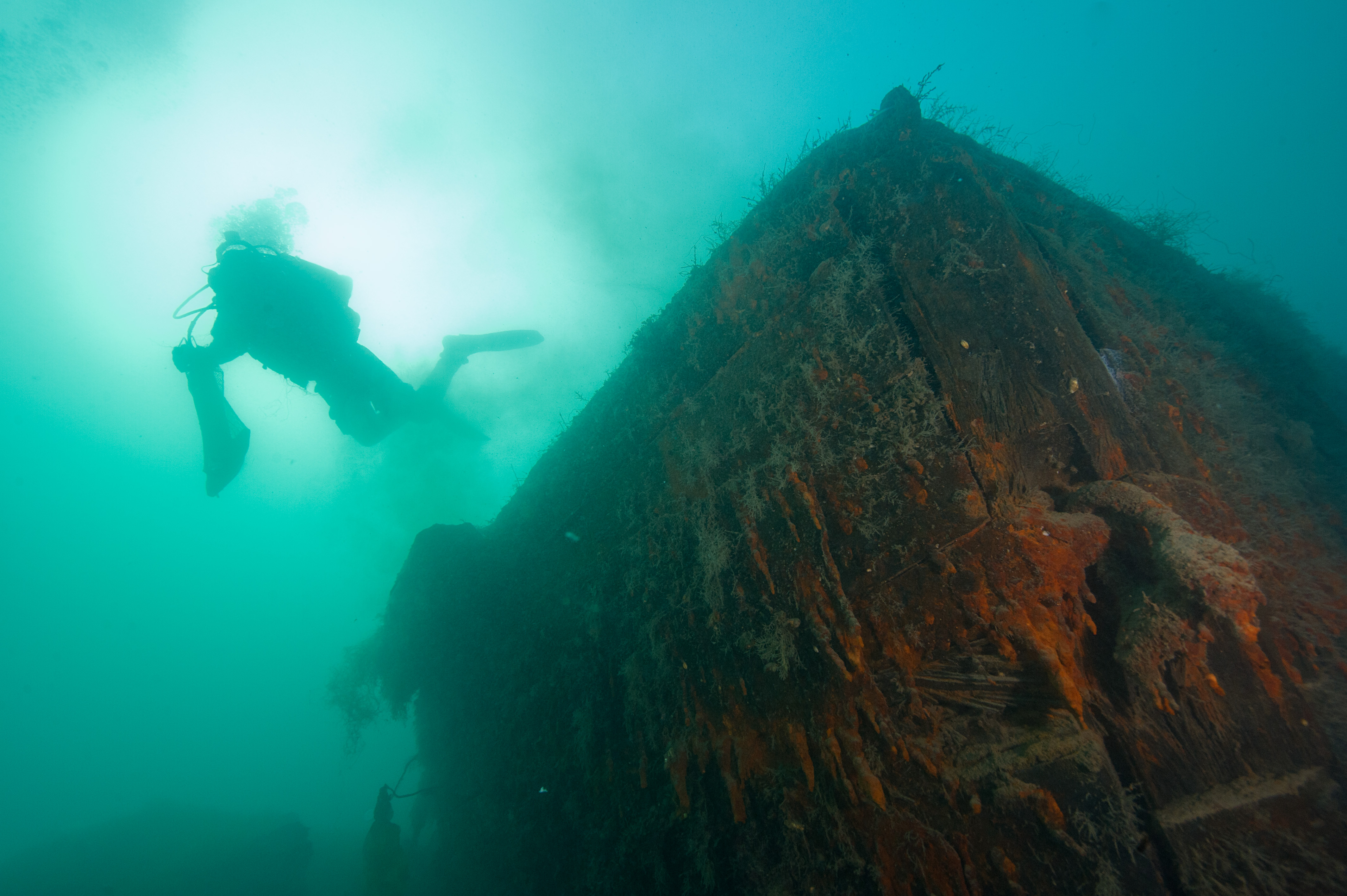 Ryan Harris swimming over the bow of HMS Investigator. Copyright: Parks Canada, Brett Seymour, NPS