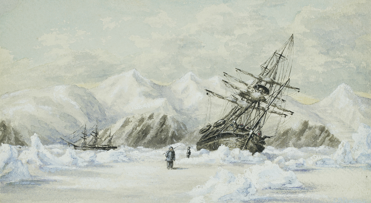 Painting of ship trapped in ice, by Edward Adams
