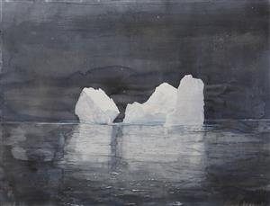 Emma Stibbon, 'Night Bergs' 197 x 152.8cms (watercolour, graphite and aluminium powder)