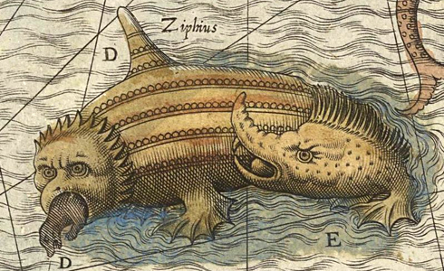 Sea monster Ziphius eating a seal (courtesy www.laphamsquarterly.org)