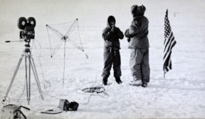 Captain Hawkes interviews Rear Admiral Dufek at the South Pole but the film had frozen solid (source: US Navy)