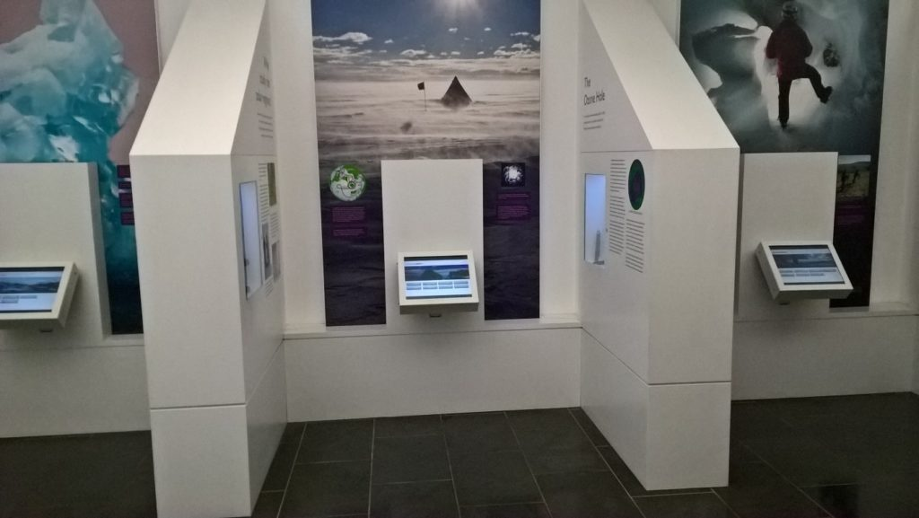 The Museum's current interactive screen setup