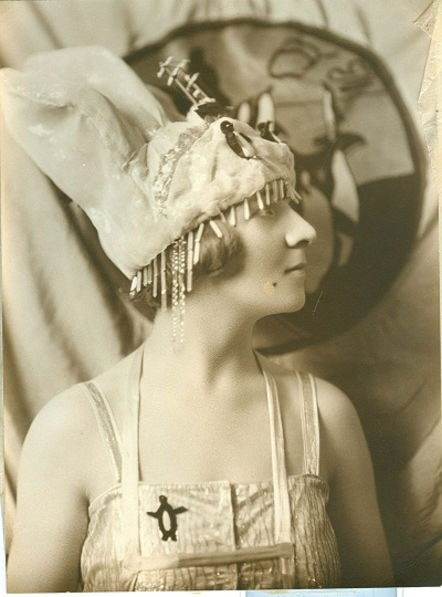 Mrs Irving Bell wearing the fancy dress costume at the Chelsea Art Ball in 1923
