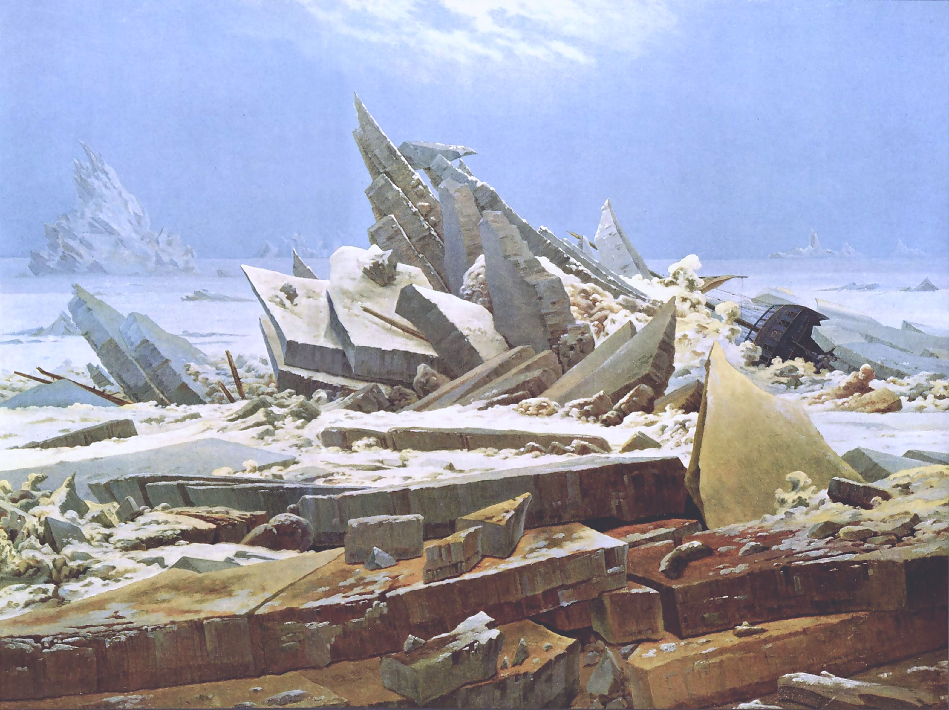The Sea of Ice, also called The Wreck of Hope is an oil painting of 1823–1824 by the German Romantic artist Caspar David Friedrich