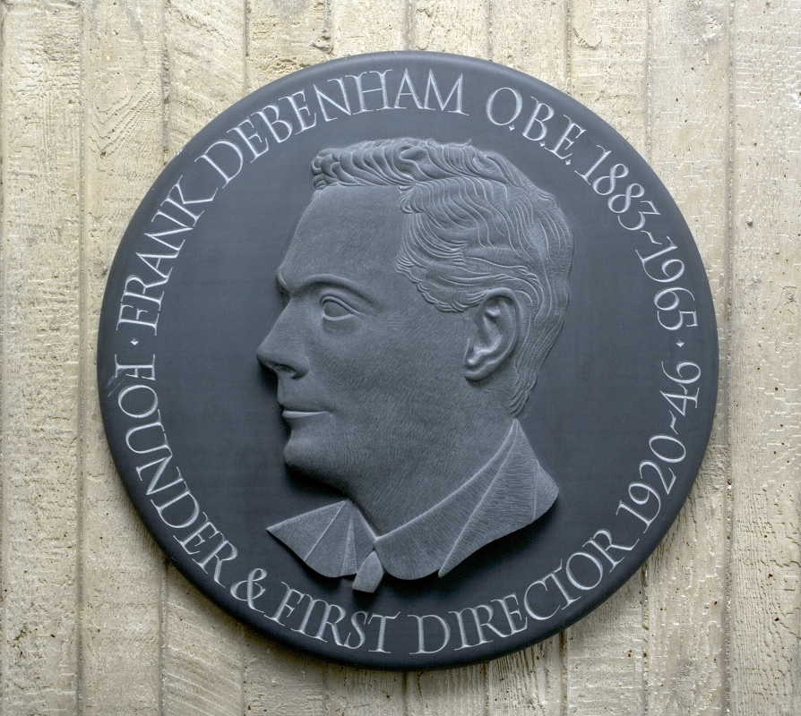 Plaque commemorating SPRI's founder, Frank Debenham, OBE
